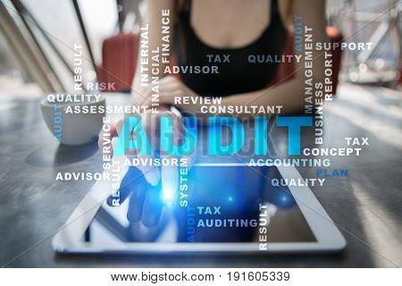 Audit business concept Auditor. Compliance. Virtual screen technology. Words cloud