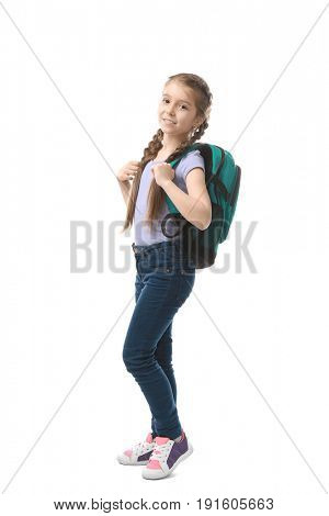 Cute funny girl with schoolbag on white background