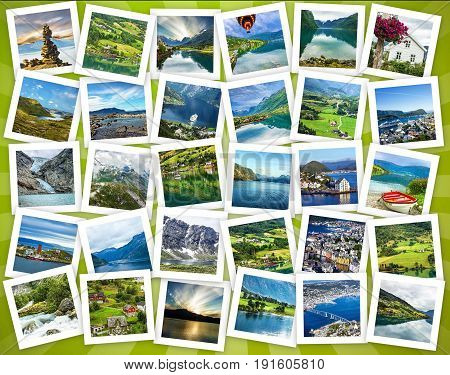 Norway travel collage natural landscapes and nature