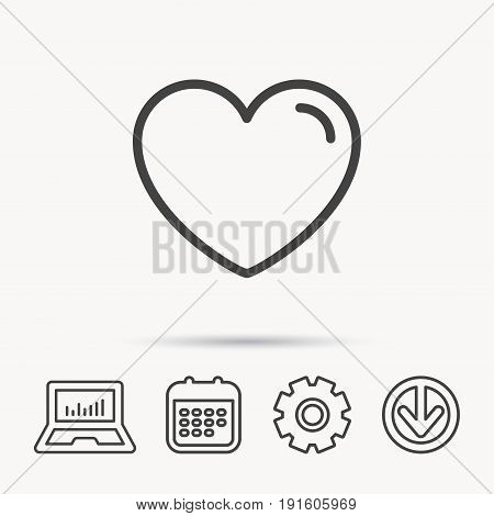 Love heart icon. Life sign. Like symbol. Notebook, Calendar and Cogwheel signs. Download arrow web icon. Vector