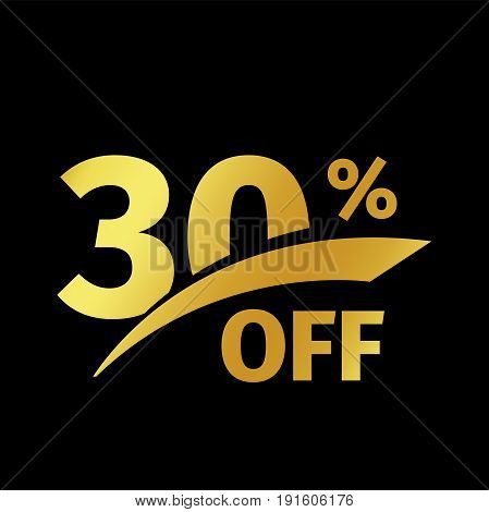 Black banner discount purchase 30 percent sale vector gold logo on a black background. Promotional business offer for buyers logotype. Thirty percentage off, discounts in the strict style coupon