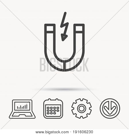 Magnet icon. Magnetic power sign. Physics symbol. Notebook, Calendar and Cogwheel signs. Download arrow web icon. Vector