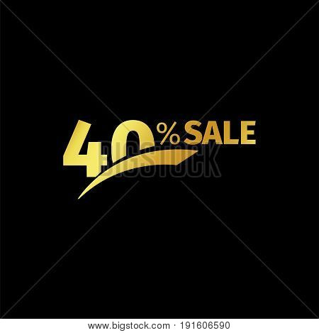 Black banner discount purchase 40 percent sale vector gold logo on a black background. Promotional business offer for buyers logotype. Forty percentage off, discounts in the strict style coupon