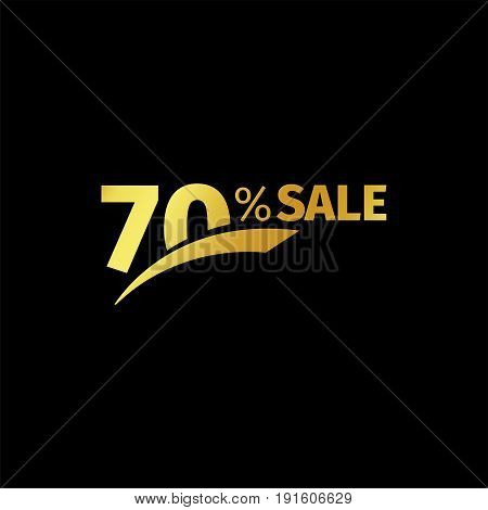 Black banner discount purchase 70 percent sale vector gold logo on a black background. Promotional business offer for buyers logotype. Seventy percentage off, discounts in the strict style coupon