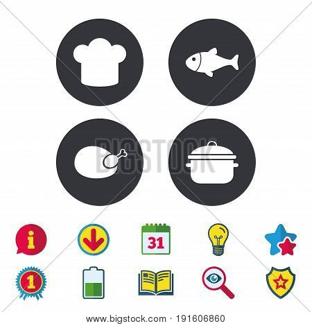 Chief hat and cooking pan icons. Fish and chicken signs. Boil or stew food symbol. Calendar, Information and Download signs. Stars, Award and Book icons. Light bulb, Shield and Search. Vector