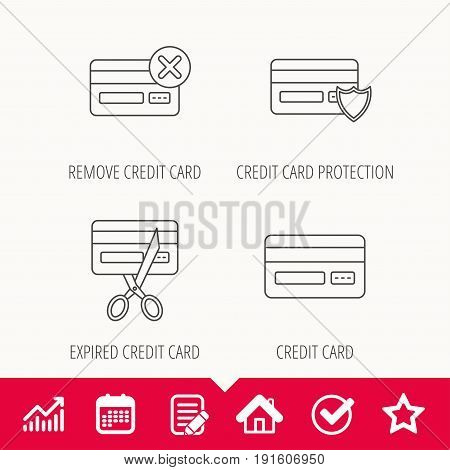 Bank credit card icons. Banking, protection and expired debit card linear signs. Edit document, Calendar and Graph chart signs. Star, Check and House web icons. Vector