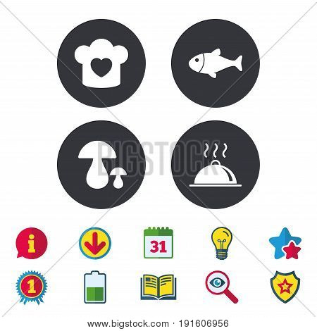 Chief hat with heart and cooking pan icons. Fish and boletus mushrooms signs. Hot food platter serving symbol. Calendar, Information and Download signs. Stars, Award and Book icons. Vector