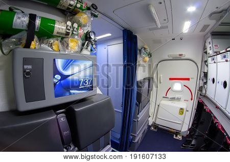 Inside The Kitchen, Control Panel Foe Sterwardess Of The Boeing 737-800. Russia, Saint-petersburg, N