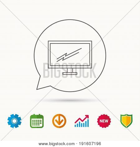 PC monitor icon. Led TV sign. Widescreen display symbol. Calendar, Graph chart and Cogwheel signs. Download and Shield web icons. Vector