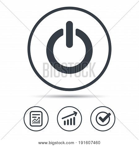 On, off power icon. Energy switch symbol. Report document, Graph chart and Check signs. Circle web buttons. Vector