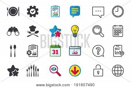 Plate dish with forks and knifes icons. Chief hat sign. Crosswise cutlery symbol. Dessert fork. Chat, Report and Calendar signs. Stars, Statistics and Download icons. Question, Clock and Globe. Vector