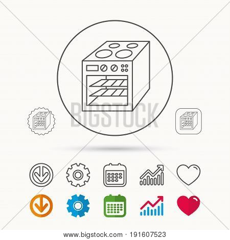 Oven icon. Electric stove sign. Calendar, Graph chart and Cogwheel signs. Download and Heart love linear web icons. Vector