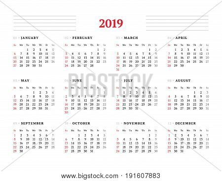 Calendar for 2019 year on white background. Vector design print template. Week starts on Sunday. Stationery design