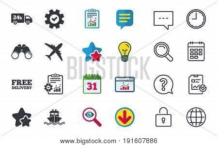 Cargo truck and shipping icons. Shipping and free delivery signs. Transport symbols. 24h service. Chat, Report and Calendar signs. Stars, Statistics and Download icons. Question, Clock and Globe