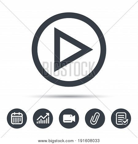 Play icon. Audio or Video player symbol. Calendar, chart and checklist signs. Video camera and attach clip web icons. Vector