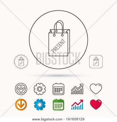 Present shopping bag icon. Gift handbag sign. Calendar, Graph chart and Cogwheel signs. Download and Heart love linear web icons. Vector