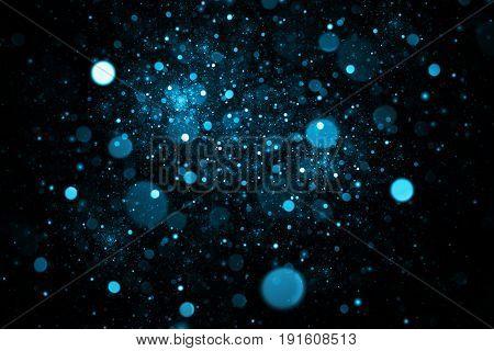 Abstract Colorful Blue Bokeh On Black Background. Fantasy Fractal Texture. Digital Art. 3D Rendering