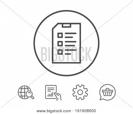 Checklist Document line icon. Information File sign. Paper page concept symbol. Hold Report, Service and Global search line signs. Shopping cart icon. Editable stroke. Vector