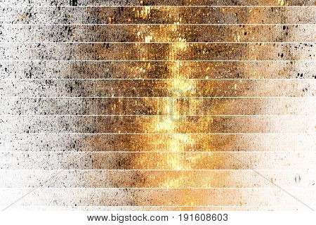 Abstract Glittering Geometric Texture With Gold And Black Sparkles On White Background. Fantasy Frac