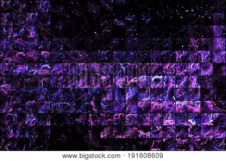 Abstract Glittering Geometric Texture With Purple And Blue Sparkles On Black Background. Fantasy Fra