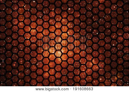 Abstract Geometric Texture With Orange Sparkles On Black Background. Fantasy Hexagonal Fractal Desig