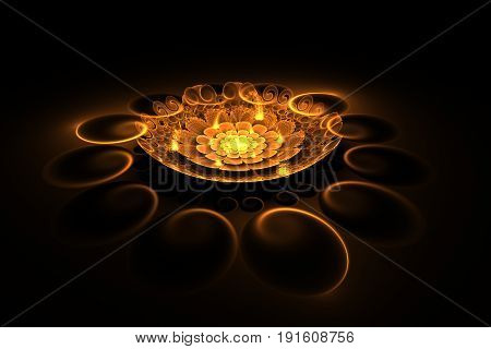 Abstract Exotic Gold Flower With Textured Petals On Black Background. Fantasy Fractal Design In Oran