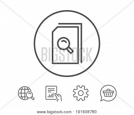 Search Documents line icon. File with Magnifying glass sign. Paper page concept symbol. Hold Report, Service and Global search line signs. Shopping cart icon. Editable stroke. Vector
