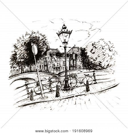Black and white hand drawing, city view of Amsterdam typical houses, bridges and streetlight, Holland, Netherlands. Picture made liners