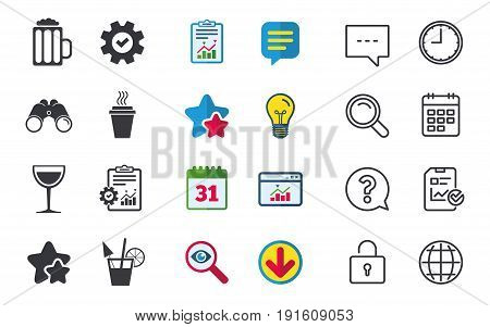 Drinks icons. Take away coffee cup and glass of beer symbols. Wine glass and cocktail signs. Chat, Report and Calendar signs. Stars, Statistics and Download icons. Question, Clock and Globe. Vector