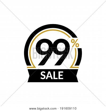 Discount card with 99 percent sale. Advertising Sale vector isolated sign. Promotion Stylish logo design under the black and gold arch
