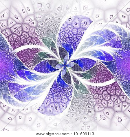Exotic Flower With Textured Petals On White Background. Abstract Symmetrical Floral Design In Blue,