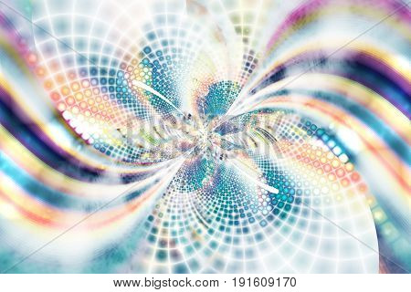 Exotic Flower With Textured Petals On White Background. Abstract Asymmetrical Floral Design In Blue,