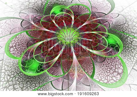 Abstract Exotic Flower With Textured Petals On White Background. Fantastic Fractal Design In Green A