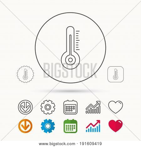 Thermometer icon. Weather temperature sign. Meteorology symbol. Calendar, Graph chart and Cogwheel signs. Download and Heart love linear web icons. Vector