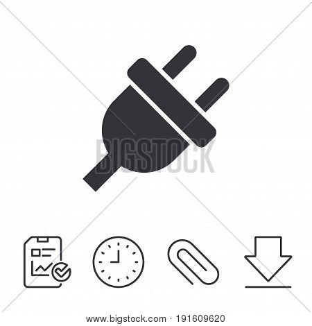 Electric plug sign icon. Power energy symbol. Report, Time and Download line signs. Paper Clip linear icon. Vector