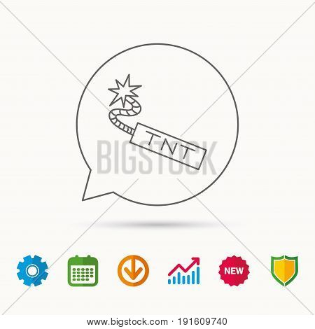 TNT dynamite icon. Bomb explosion sign. Calendar, Graph chart and Cogwheel signs. Download and Shield web icons. Vector
