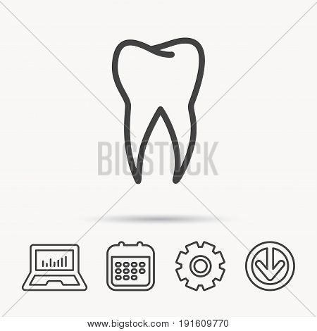 Tooth icon. Dental stomatology sign. Dentistry symbol. Notebook, Calendar and Cogwheel signs. Download arrow web icon. Vector