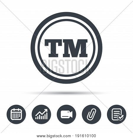 Registered TM trademark icon. Intellectual work protection symbol. Calendar, chart and checklist signs. Video camera and attach clip web icons. Vector