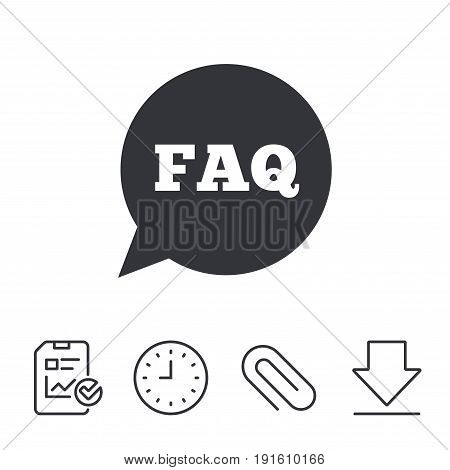 FAQ information sign icon. Help speech bubble symbol. Report, Time and Download line signs. Paper Clip linear icon. Vector