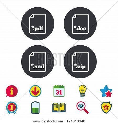 Download document icons. File extensions symbols. PDF, ZIP zipped, XML and DOC signs. Calendar, Information and Download signs. Stars, Award and Book icons. Light bulb, Shield and Search. Vector