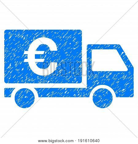 Grunge Euro Shipment icon with grunge design and scratched texture. Unclean vector blue pictogram for rubber seal stamp imitations and watermarks. Draft sticker symbol.