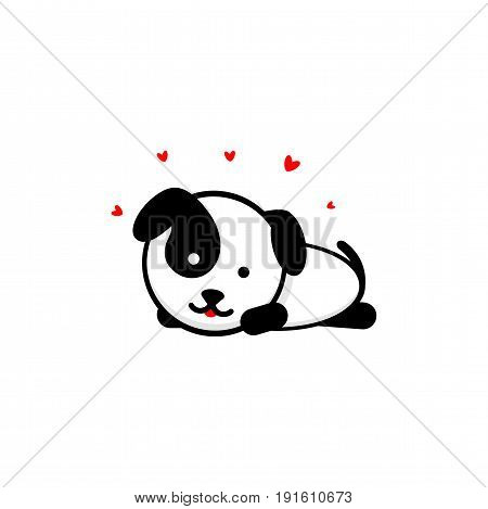 Cute Dog In love and rest vector illustration, Baby Puppy logo, new design art, Pet Lies on the stomach Black color sign, simple image, picture with animal and hearts