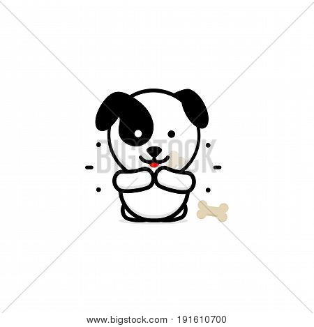 Cute Dog Eat Dinner vector illustration, Baby Puppy logo, new design art, Pet Food Black color sign, simple image, picture with animal, ossicle, lines and rays