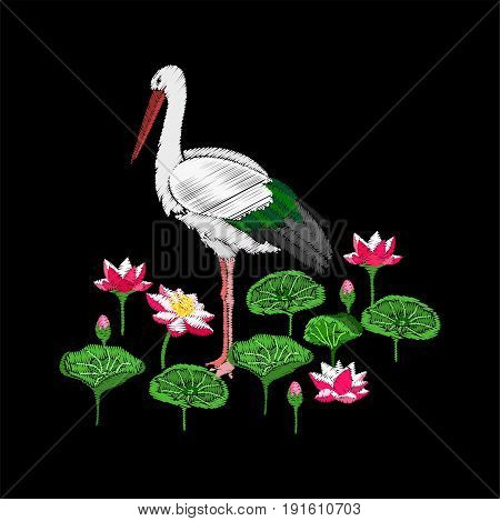 Embroidery water lily or lotus and stork. Flowers and bird isolated on black background.