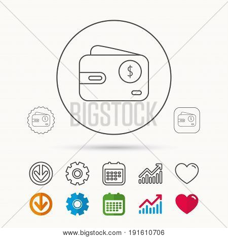 Dollar wallet icon. USD cash money bag sign. Calendar, Graph chart and Cogwheel signs. Download and Heart love linear web icons. Vector