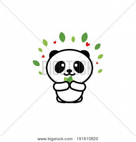 Cute Panda Eats leaves vector illustration, Baby Bear logo, new design line art, Chinese Teddy-bear Black color sign, simple image, picture with animal