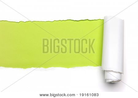 Torn Paper showing green background isolated on a white background
