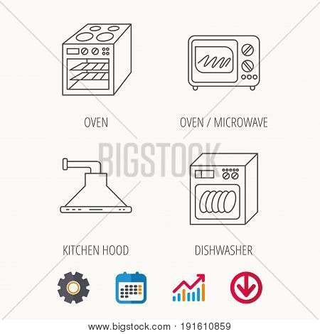 Microwave oven, dishwasher and kitchen hood icons. Oven linear sign. Calendar, Graph chart and Cogwheel signs. Download colored web icon. Vector