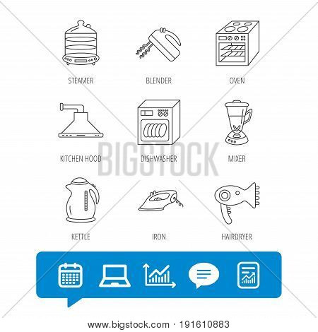 Dishwasher, kettle and mixer icons. Oven, steamer and iron linear signs. Hair dryer, blender and kitchen hood icons. Report file, Graph chart and Chat speech bubble signs. Vector