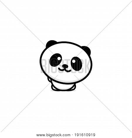 Cute Panda welcomes waving his hand vector illustration, Baby Bear logo, new design line art, Chinese Teddy-bear Black color sign, simple image, picture with animal.